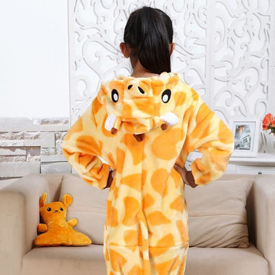 Animal theme Unisex Hooded Pajama Sleepwear sets - Giraffe / 2-3 years