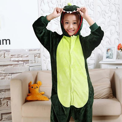 Animal theme Unisex Hooded Pajama Sleepwear sets - Green Dinasour / 2-3 years