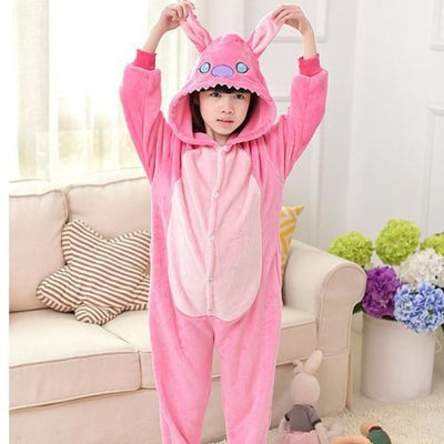 Animal theme Unisex Hooded Pajama Sleepwear sets - Pink Bunny / 2-3 years