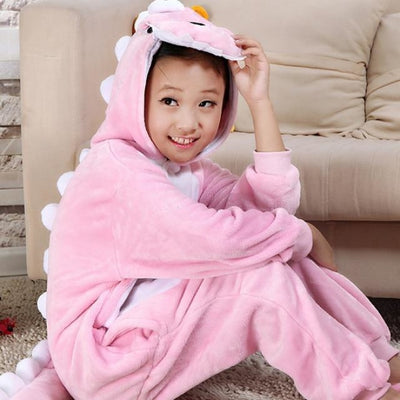 Animal theme Unisex Hooded Pajama Sleepwear sets - Pink Dinasour / 2-3 years