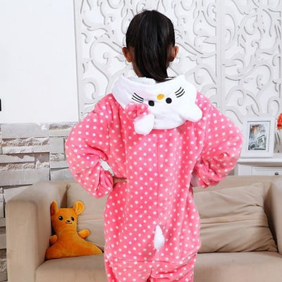 Animal theme Unisex Hooded Pajama Sleepwear sets - Pink Kitty / 2-3 years