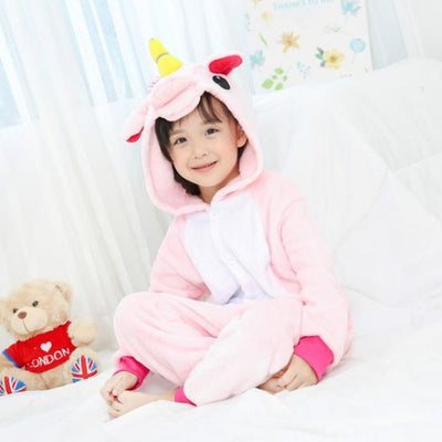Animal theme Unisex Hooded Pajama Sleepwear sets - Pink unicorn / 2-3 years