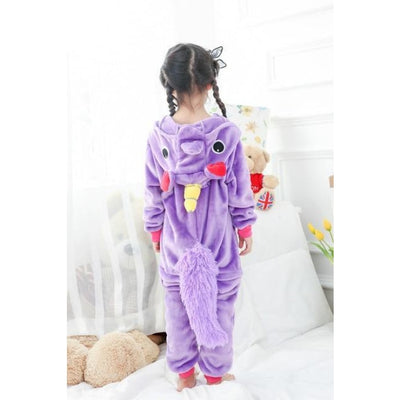 Animal theme Unisex Hooded Pajama Sleepwear sets - Purple unicorn / 2-3 years