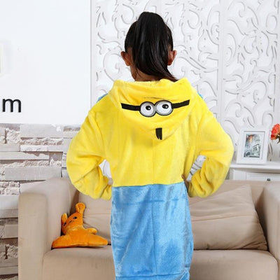 Animal theme Unisex Hooded Pajama Sleepwear sets - Yellow + Blue / 2-3 years