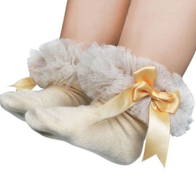Ankle Length socks with Princess Bowknots for Girls - Beige / 6-9 years