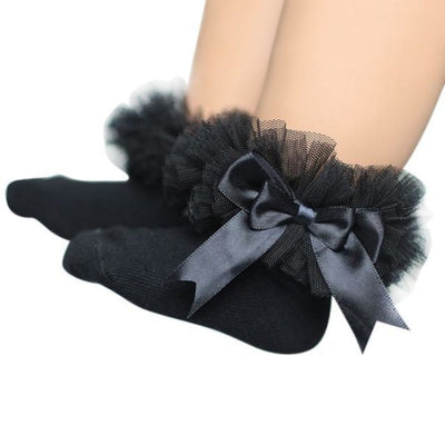 Ankle Length socks with Princess Bowknots for Girls - Black / 6-9 years