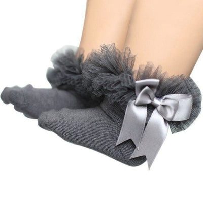 Ankle Length socks with Princess Bowknots for Girls - Gray / 6-9 years