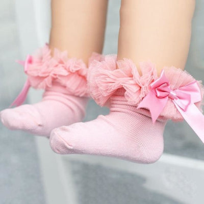 Ankle Length socks with Princess Bowknots for Girls - Pink / 6-9 years