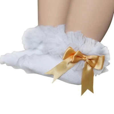 Ankle Length socks with Princess Bowknots for Girls - White + Gold / 6-9 years