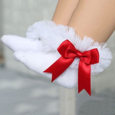 Ankle Length socks with Princess Bowknots for Girls - White + Red / 6-9 years