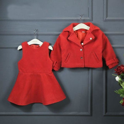 Attractive Red Long sleeve Blazer Skirt Hat set for Girls - Red / 18-24 months