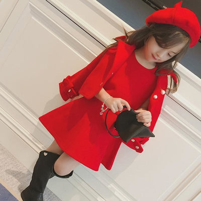 Attractive Red Long sleeve Blazer Skirt Hat set for Girls