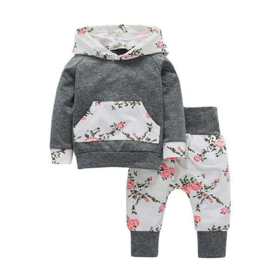 Autumn Style Floral Clothing Set Baby Girl - Gray / 3-6 months