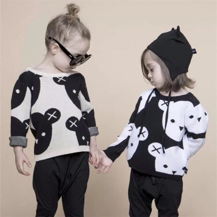 Awesome Black & White Sweater for Toddler Kids Unisex