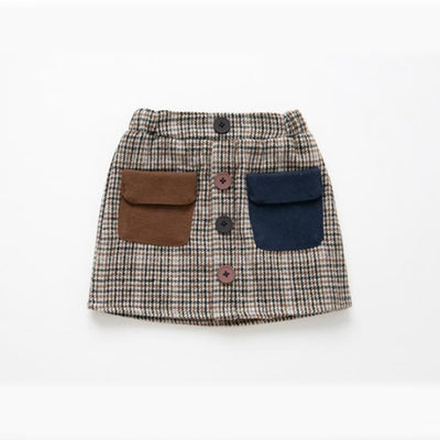 Awesome Corduroy skirt for Girls - Coffee + Blue / 18-24 months