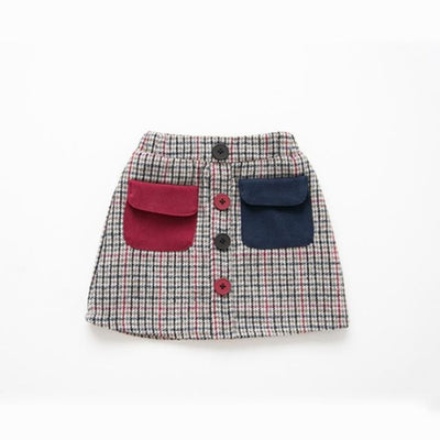 Awesome Corduroy skirt for Girls - Red + Blue / 18-24 months