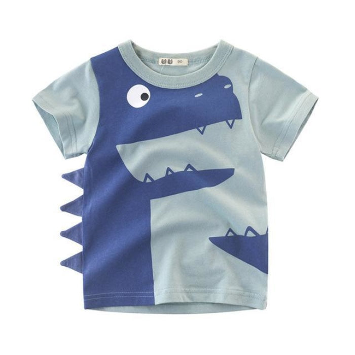 Awesome Dinosaur with Fins Cotton Summer T-Shirt - Light Gray / 18-24 months