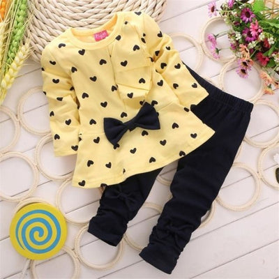 Baby Girl Clothing Set Heart-shaped Print Bow T-shirt + Pants - Yellow + Black / 1-3 months