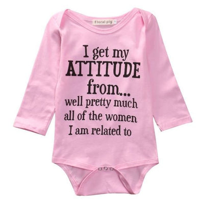 Baby Girls Cotton Letter Printed Bodysuit with Full Sleeves - Pink / 0-3 months
