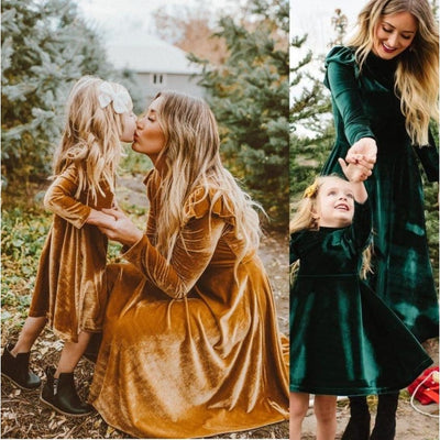 Beautiful Autumn full sleeve Matching Dresses for Mother Daughter
