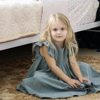 Beautiful Summer Long Twirl Vintage Dress for Girls - Gray / 2-3 years