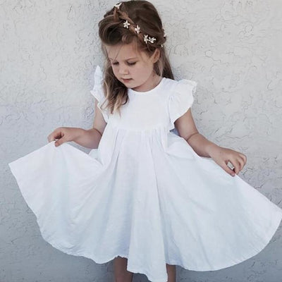 Beautiful Summer Long Twirl Vintage Dress for Girls - White / 4-5 years