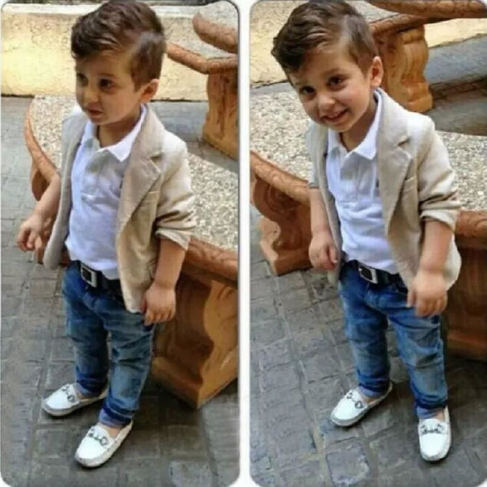 Beige Jacket & Denim Clothing 3 Pc set for Boys