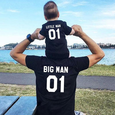 Big and Little Man T-shirt for Father and Son - Black / father 01 M