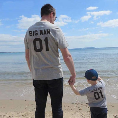 Big and Little Man T-shirt for Father and Son - Gray / father 01 M