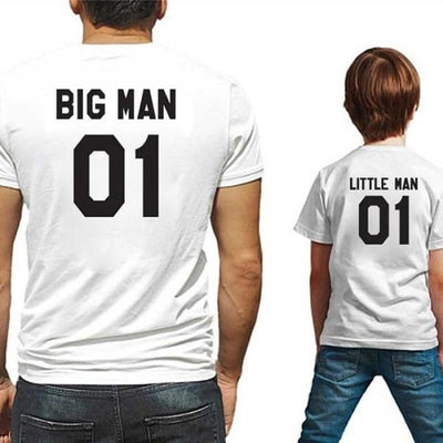 Big and Little Man T-shirt for Father and Son - White / father 01 M