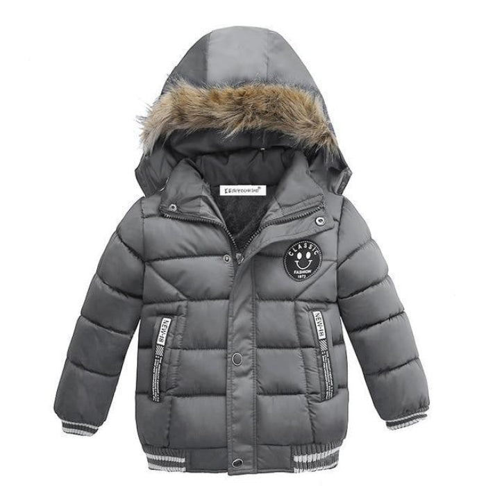 Big stripe Hooded Jacket with Zipper for Baby Boys