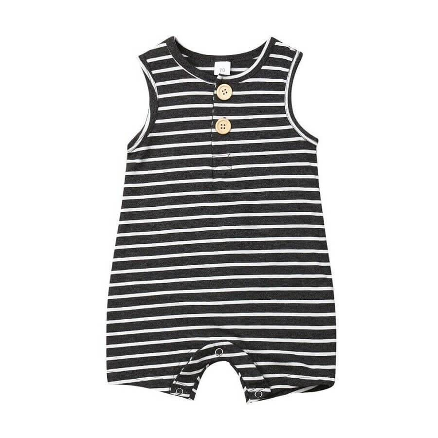 Black Striped Sleeveless Romper - Black / 3-6 months