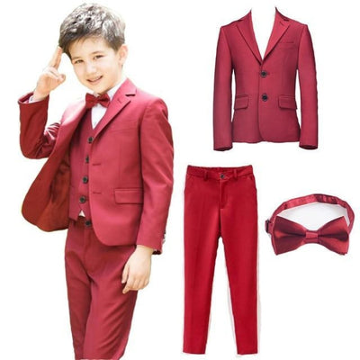 Blazer Pant Tie Set Boys - Red / 2-3 years