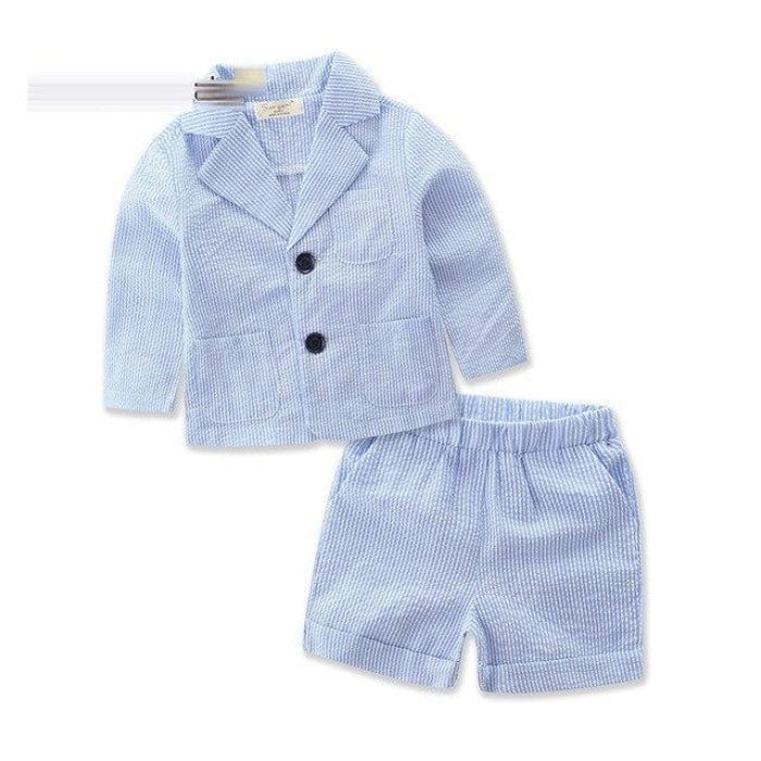 Blue Striped Formal Outwear clothing set for Girls