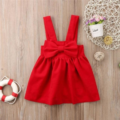Bow Style Suspender Skirt for Girls - Red / 18-24 months