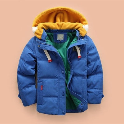Boys Casual Solid Color Full Sleeve Hooded Jacket - Blue / 2-3 years
