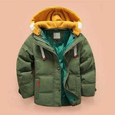 Boys Casual Solid Color Full Sleeve Hooded Jacket - Green / 2-3 years