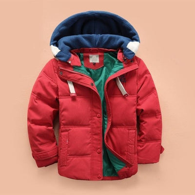 Boys Casual Solid Color Full Sleeve Hooded Jacket - Red / 2-3 years