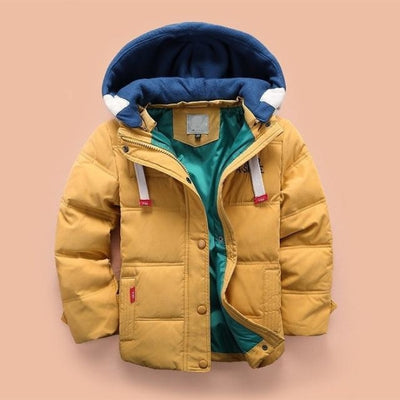 Boys Casual Solid Color Full Sleeve Hooded Jacket - Yellow / 2-3 years