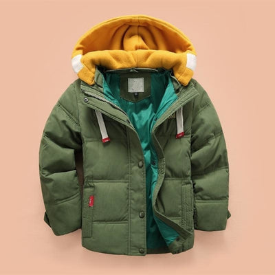 Boys Casual Solid Color Full Sleeve Hooded Jacket