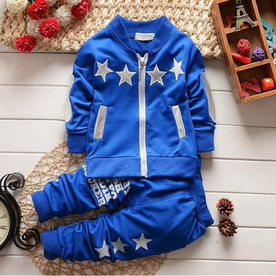 Boys Zipper Closure Full Sleeve Cotton Clothing Set Star Pattern - Blue / 18-24 months