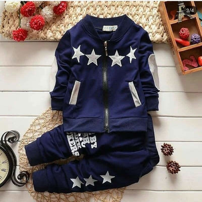 Boys Zipper Closure Full Sleeve Cotton Clothing Set Star Pattern - Navy Blue / 18-24 months