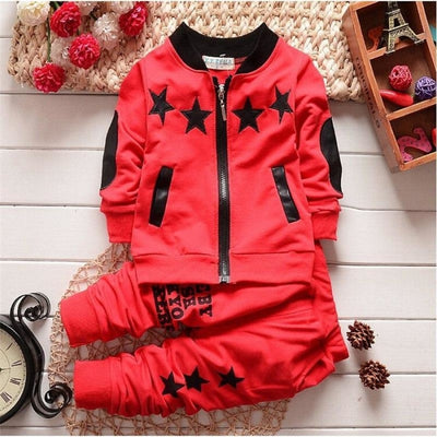 Boys Zipper Closure Full Sleeve Cotton Clothing Set Star Pattern