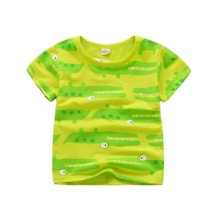 Bright Fluorescent Crocodile Print T-shirt Kids Unisex - yellow green / 18-24 months