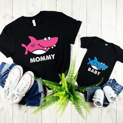 Bright Mommy Baby Shark Matching Shirts for Mom & Baby - Mom S Shirt / Black