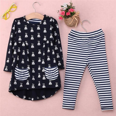 Bunny Print 2 Pc Clothing set for Girls - Blue + Gray / 9-12 months