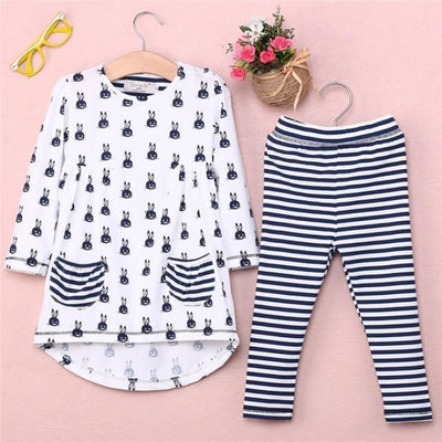 Bunny Print 2 Pc Clothing set for Girls - White + Gray / 9-12 months