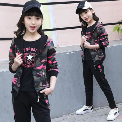 Camouflage 3 PC Zipper Jacket Clothing set for Girls