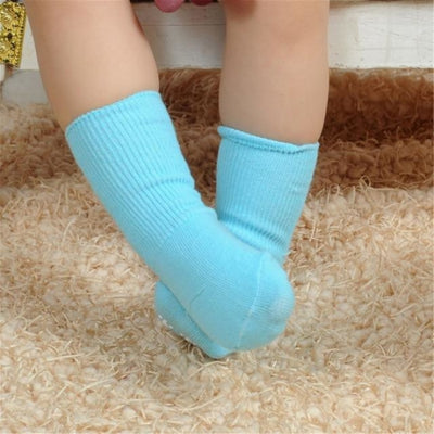Candy Color Baby Boy Girls Anti Slip Socks - turq / 1 to 3 years
