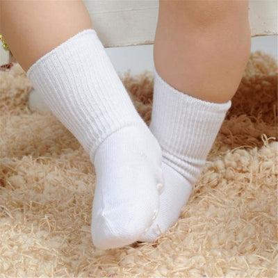 Candy Color Baby Boy Girls Anti Slip Socks - white / 1 to 3 years